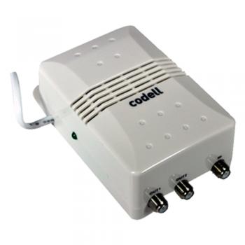 AMPLIFICADOR DE INTERIOR DE CONECTOR F CON 1 ENTRADA Y 2 SALIDAS (VHF) DE 12 - 27 DB