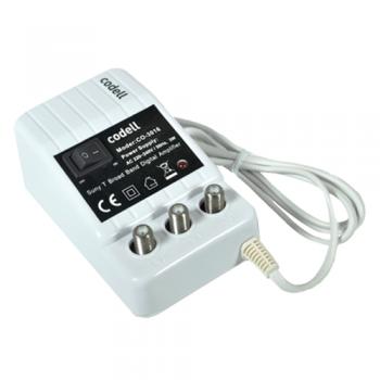 AMPLIFICADOR DE INTERIOR DE CONECTOR F CON 1 ENTRADA Y 2 SALIDAS (VHF) DE 15 - 30 DB