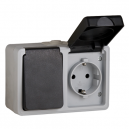 BASE DE ENCHUFE CON TTL 16A + INTERRUPTOR DE 16A DE SUPERFICIE ESTANCA IP-54