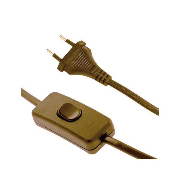 Interruptor de paso en dorado con 2 mtrs de cable - Interruptor con enchufe ...