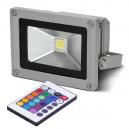 PROYECTOR LED IP-65 DE 10W CON MANDO EN LUZ MULTICOLOR RGB